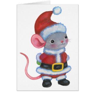 Santa Mouse Christmas Animal Art Card