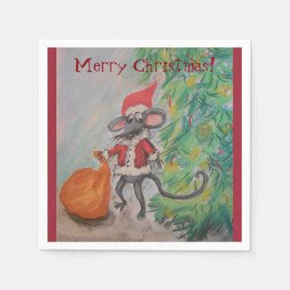 Santa Mouse Merry Christmas Napkin
