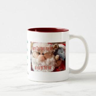 Santa & Mouse Mug-customize Two-Tone Coffee Mug