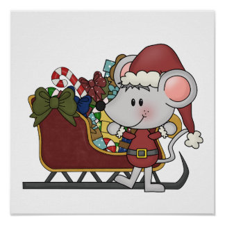 Santa Mouse With Sled Poster