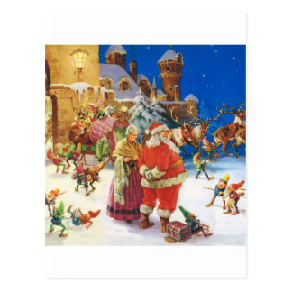 SANTA & MRS. CLAUS AT THE NORTH POLE CASTLE POSTCARD