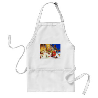 Santa & Mrs. Claus at the North Pole Christmas Eve Adult Apron