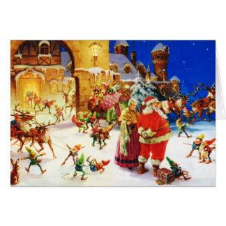 Santa & Mrs. Claus at the North Pole Christmas Eve Card