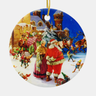 Santa & Mrs. Claus At the North Pole Christmas Eve Ceramic Ornament