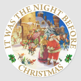 Santa & Mrs, Claus at the North Pole Christmas Eve Classic Round Sticker