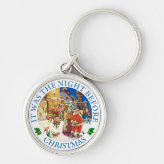 Santa & Mrs. Claus At the North Pole Christmas Eve Keychain