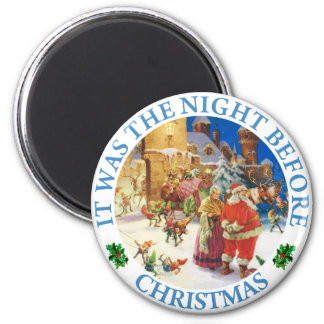 Santa & Mrs. Claus At the North Pole Christmas Eve Magnet