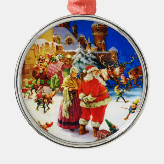Santa & Mrs. Claus At the North Pole Christmas Eve Metal Ornament