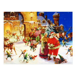Santa & Mrs. Claus at the North Pole Christmas Eve Postcard