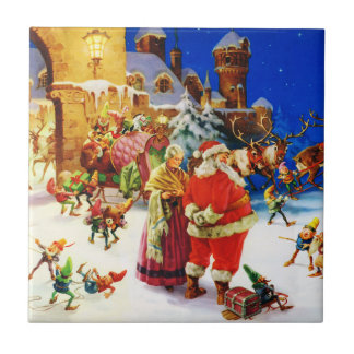 Santa & Mrs. Claus at the North Pole Christmas Eve Tile