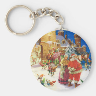 Santa & Mrs. Claus Christmas Eve at the North Pole Keychain