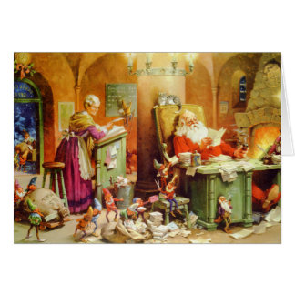 Santa & Mrs. Claus hard at work in the North Pole Greeting Card