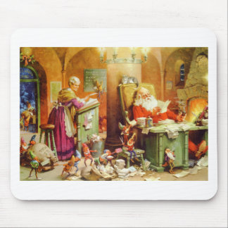 Santa Mrs Claus hard at work in the North Pole Mousepads