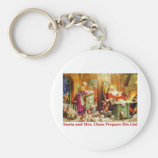 Santa & Mrs. Claus Make a List and Check it Twice Keychain