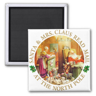 Santa & Mrs. Claus Read Mail at the North Pole 2 Inch Square Magnet