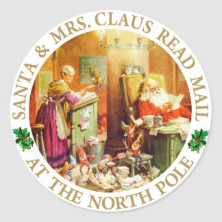 Santa & Mrs. Claus Read Mail at the North Pole Classic Round Sticker