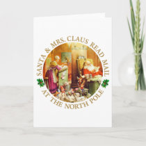 Santa & Mrs. Claus Read Mail at the North Pole Holiday Card