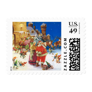 Santa,  Mrs. Claus & the Elves at the North Pole Postage Stamps