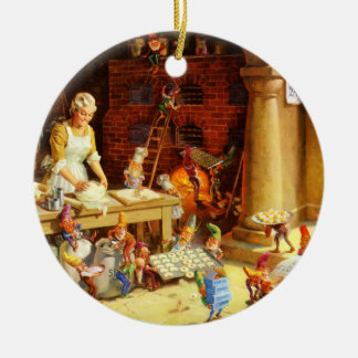 Santa & Mrs. Claus & the Elves Bake Cookies Double-Sided Ceramic Round Christmas Ornament