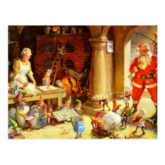 Santa & Mrs. Claus & the Elves Bake Cookies Postcard