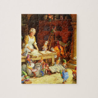 Santa & Mrs. Claus & the Elves Bake Cookies Jigsaw Puzzle