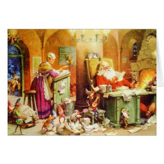 Santa Mrs Claus the Elves Check His List Card