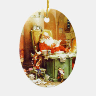 Santa & Mrs. Claus & the Elves Check His List Ceramic Ornament
