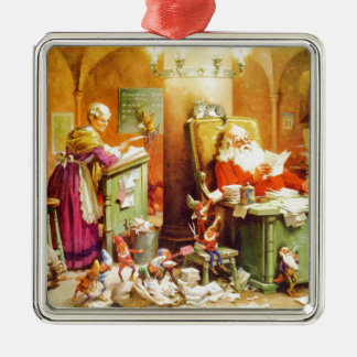 Santa & Mrs. Claus & the Elves Check His List Metal Ornament