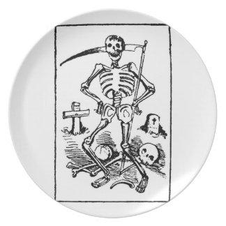Santa Muerte, 1900s tempranos mexicanos del parca  Plato Para Fiesta