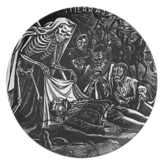 Santa Muerte and the Soldier c. 1951 Mexico Plates