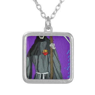 santa muerte apparell silver plated necklace
