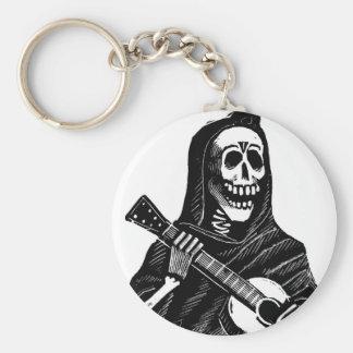 Santa Muerte con la guitarra circa 1900s tempranos Llavero Redondo Tipo Pin