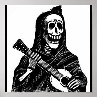Santa Muerte con la guitarra circa 1900s tempranos Póster