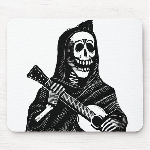 Santa Muerte con la guitarra circa 1900s tempranos Tapete De Raton