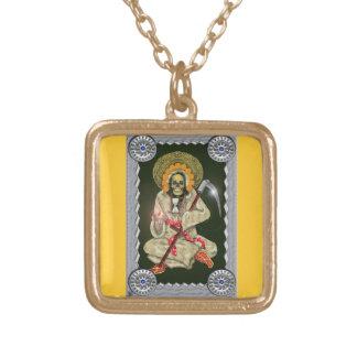 santa muerte (golden) gold plated necklace