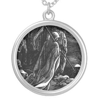 Santa Muerte (Mexican Grim Reaper) circa 1939 Silver Plated Necklace