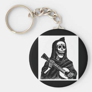 Santa Muerte (Mexican Grim Reaper) Playing Guitar Basic Round Button Keychain
