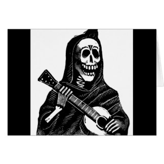 Santa Muerte (Mexican Grim Reaper) Playing Guitar Cards