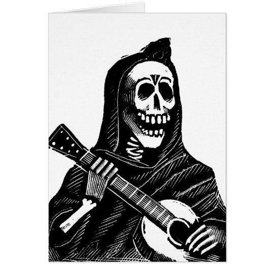 Santa Muerte (Mexican Grim Reaper) Playing Guitar Card