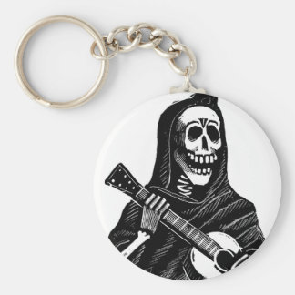 Santa Muerte (Mexican Grim Reaper) Playing Guitar Keychain