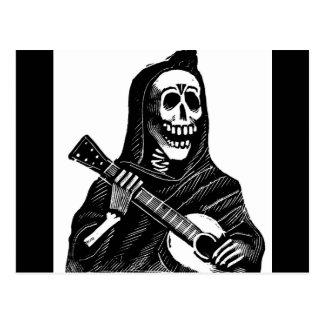 Santa Muerte (Mexican Grim Reaper) Playing Guitar Post Cards