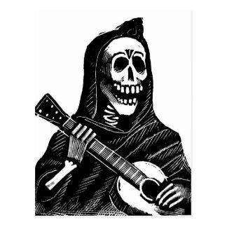 Santa Muerte (Mexican Grim Reaper) Playing Guitar Postcard