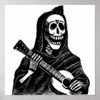 Santa Muerte (Mexican Grim Reaper) Playing Guitar Poster