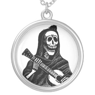 Santa Muerte (Mexican Grim Reaper) Playing Guitar Silver Plated Necklace