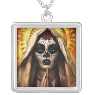 Santa muerte silver plated necklace