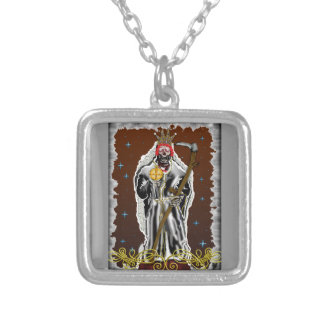 santa muerte(white) silver plated necklace