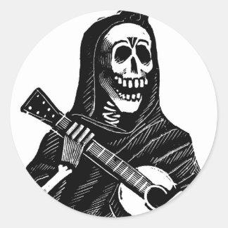 Santa Muerte with Guitar circa early 1900s Classic Round Sticker
