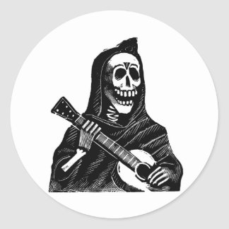 Santa Muerte with Guitar circa early 1900s Classic Round Sticker