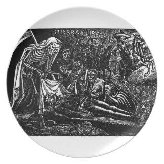 Santa Muerte y el soldado C. México 1951 Plato De Comida