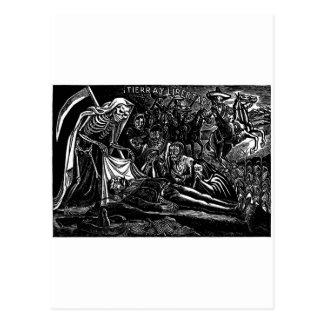 Santa Muerte y el soldado C. México 1951 Tarjeta Postal
